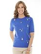 Ladies' Floral Embroidered Short Sleeve Jumper