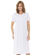 Cotton Jersey Lace Trim Button Through Nightdress