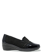 Ladies Mock Suede Patent Trim Comfort Shoe