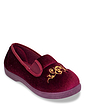 Dr Lightfoot Wide Fit Embroidered Velour Slipper