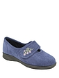 Wide Fit Touch Fasten Embroidered Slipper by DB Shoes 6E-8E