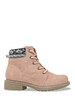 Ladies Wide Fit Knit Collar Lace Up Boot