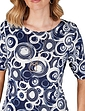 Short Sleeve Print Top with Necklace
