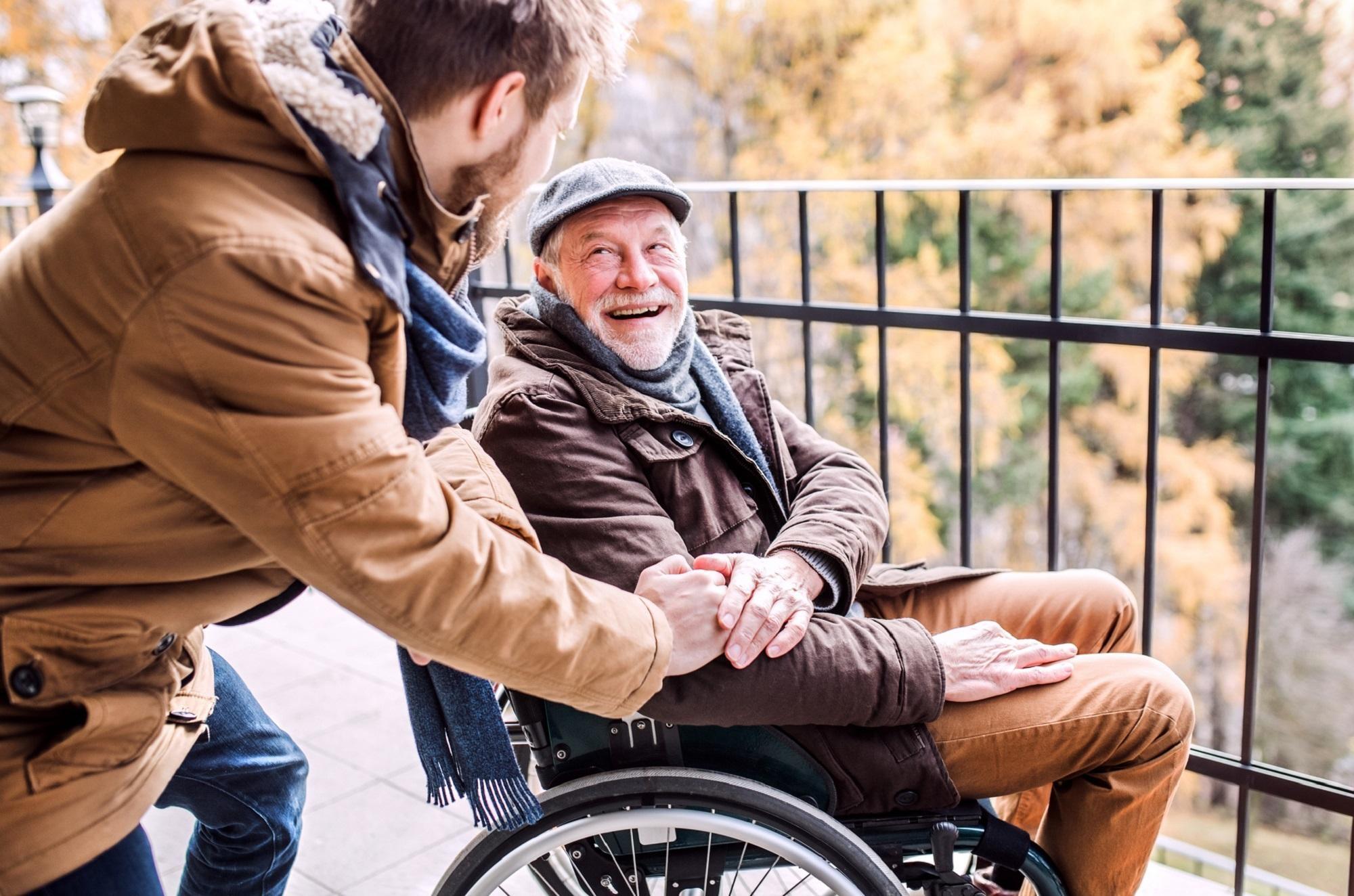 An older man in a wheelchair.