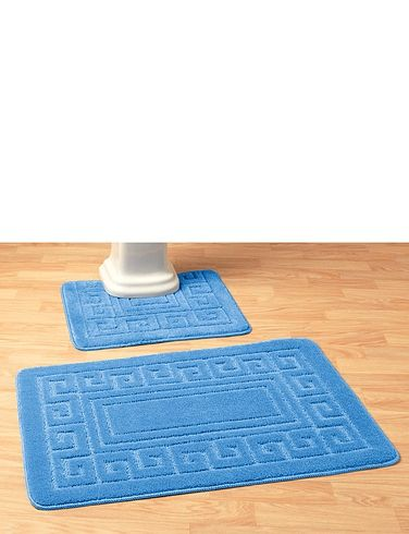 Greek Key 2 Piece Bathroom Mat Set