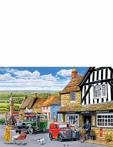Gibsons Set Of 4 The Post Mans Round Jigsaw Puzzles