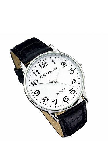 Mens White Face Classic Round Quartz Watch