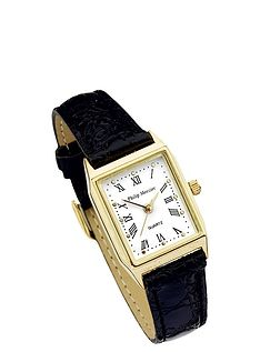 Mens White Face Classic Square Watch - Black Strap