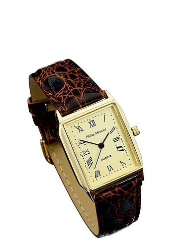 Mens Classic Gold Square Face Watch