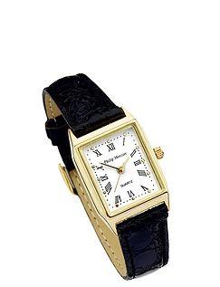 Ladies White Face Classic Square Watch - Black Strap