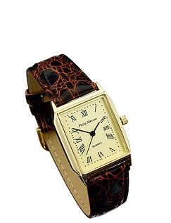 Ladies Gold Face Classic Square Watch - Brown Strap