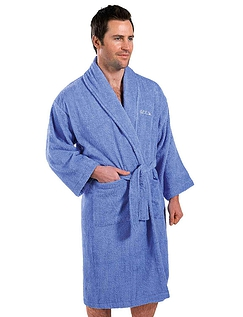 Mens And Ladies Cotton Bathrobe- Mens Blue