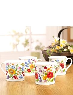 Wild Flowers Fine China Mug Set