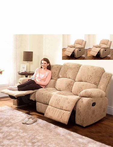 Buxton Manual Recliner Three Seater Settee And Two Chairs