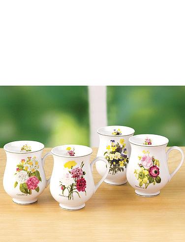 Set Of 4 Porclain 'Spring Posy' Mugs
