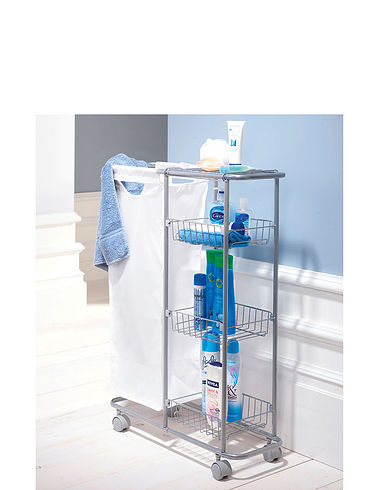 Slim Line Trolley With Laundry Basket