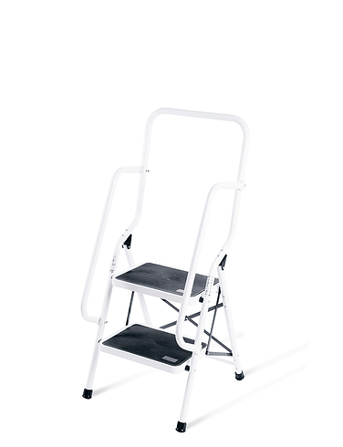 Two Step Ladder With Safety Rails