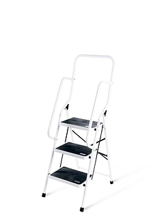 Three Step Ladder With Safety Rail