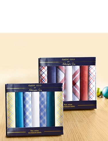 Boxed Set Of 7 Men's Plain And Checked Hankies