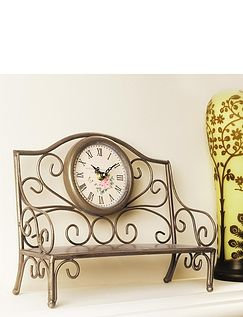 Garden Bench Mantle Clock