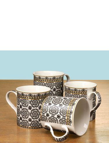 Set Of 4 Fine China Downtown Mugs