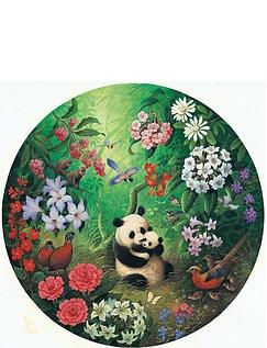 Panda 500 Piece Circular Jigsaw Puzzle