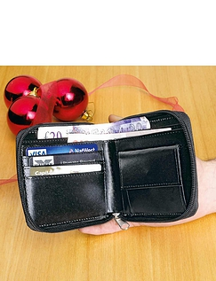 Real Leather Zip Wallet