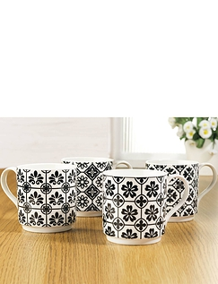 Set of 4 Black And White Tile Mugs
