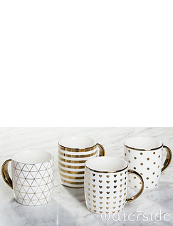 SET OF 4 METALLIC MUGS
