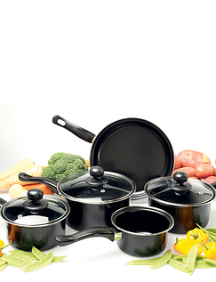 Set Of Five Nonstick Saucepans With Lid