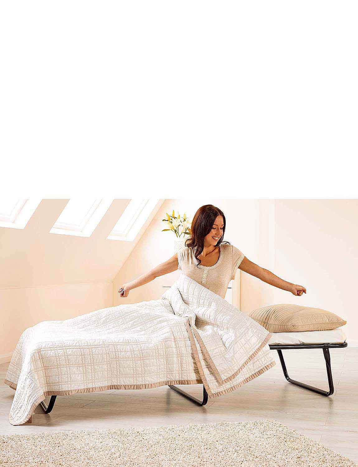 Standard Small Double Folding Bed with Mattress  - MULTI