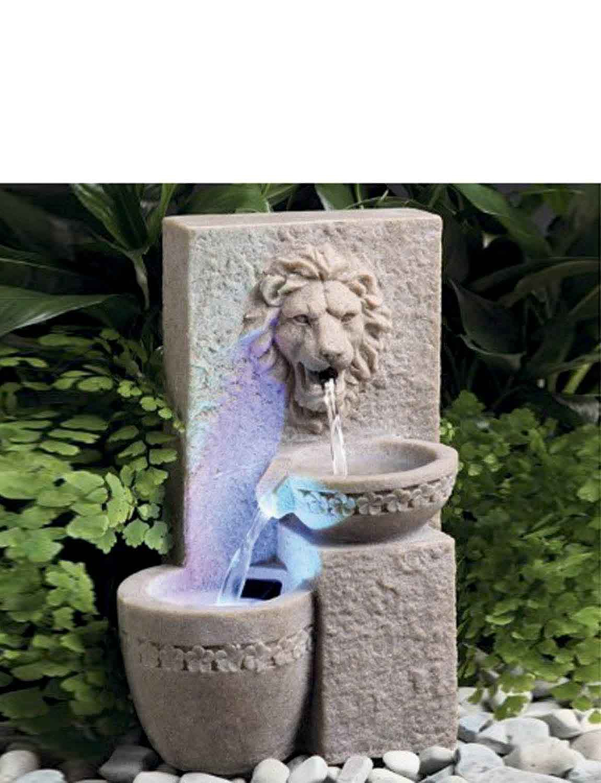 Solar Lion Head Water Fountain - MULTI