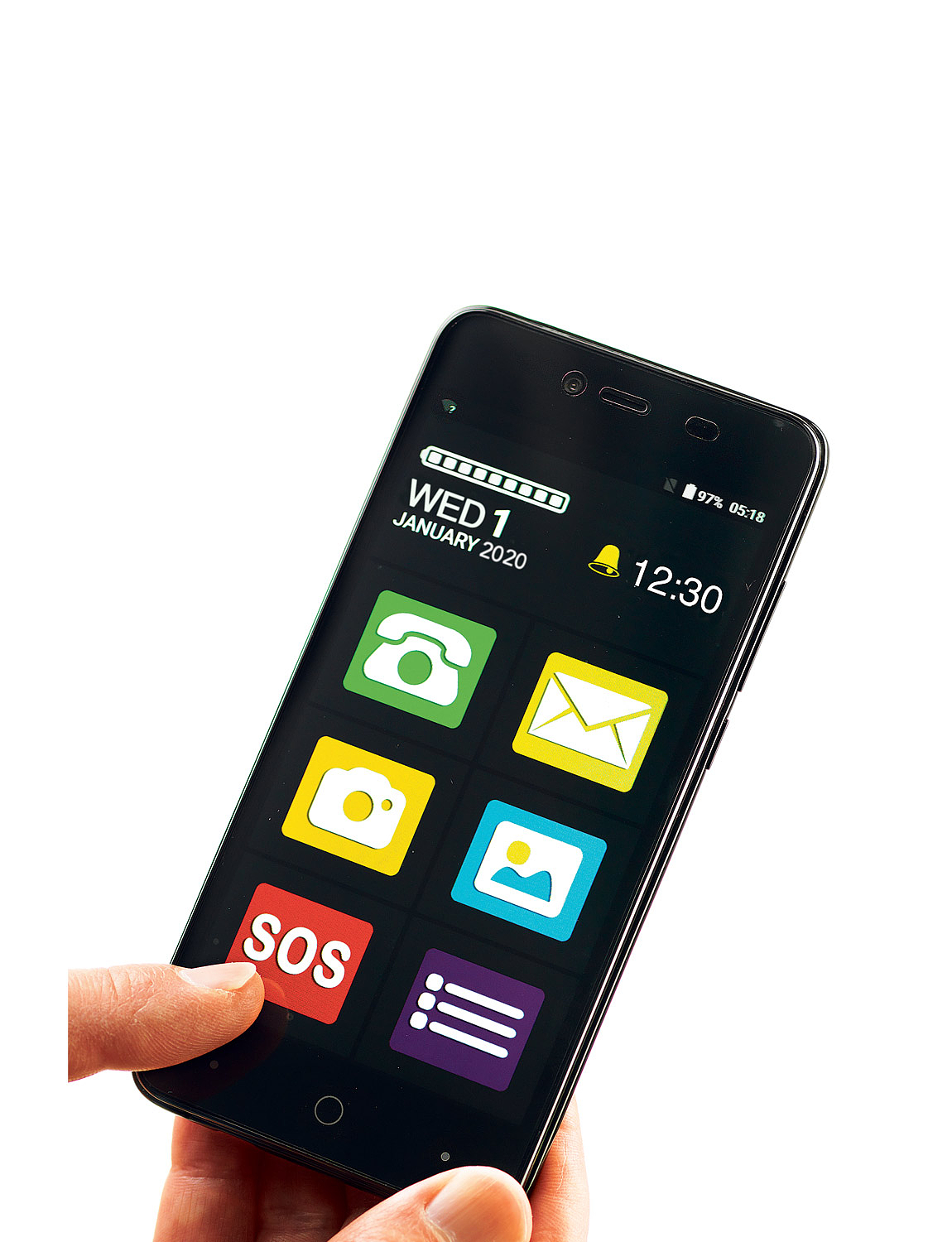 Big Screen Easy To Use Smart Phone - Black