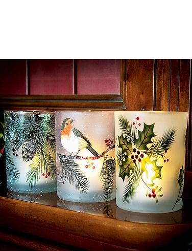 Festive Decorative Glass LED Candle Holders