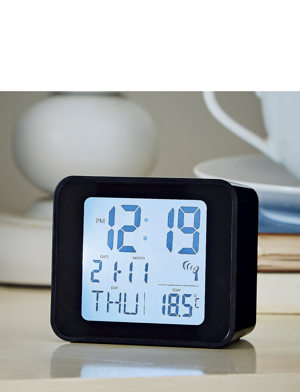 RC Alarm Clock With Day, Date & Temperature - Black