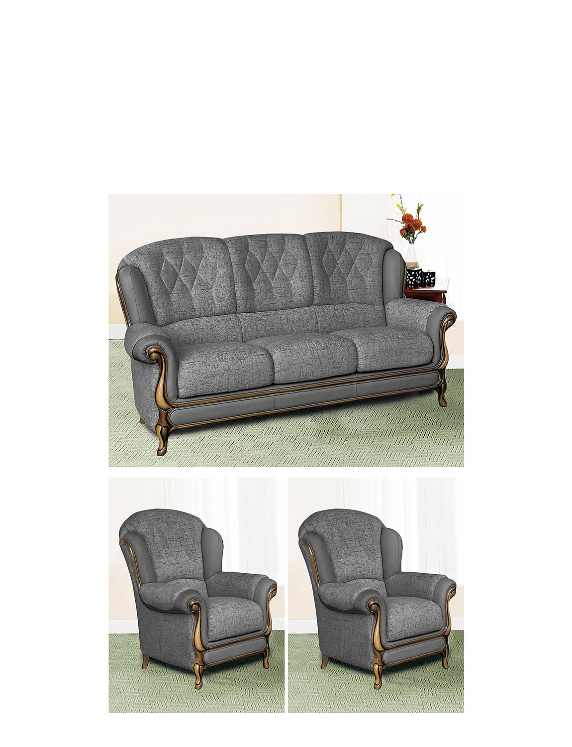 Queen Anne Suite - Three Seater Plus Two Chairs