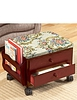 Padded Footstool with Drawer Storage and Lockable Castors