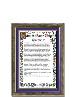 A4 Family Name Origin Framed