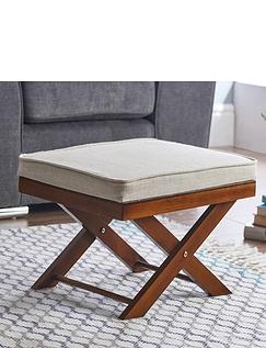 Cushion Top Solid Wood Footstool