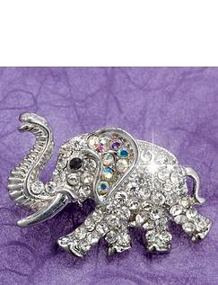 Crystal Elephant Brooch
