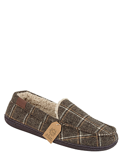 Tweed Check Fleece Lined Mens Slippers