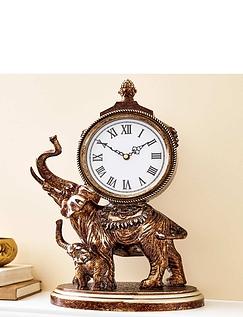 Ornate Mother & Baby Elephant Bronze Finish Mantel Clock