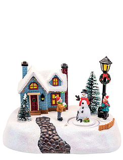 LED Light Up Musical House With Rotating Snowman