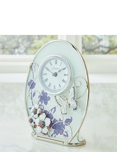 Sophia Glass & Wire Purple Butterfly Oval Mantel Clock