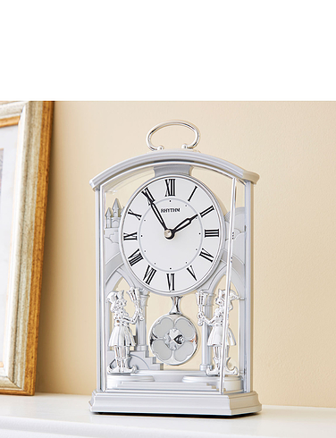Silver Tone Pendulum Carriage Clock