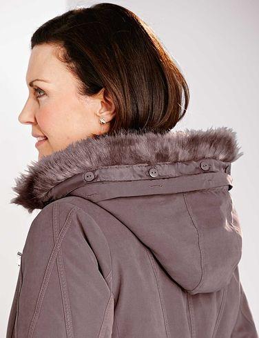 Microfibre Parka With Fur Trim Hood