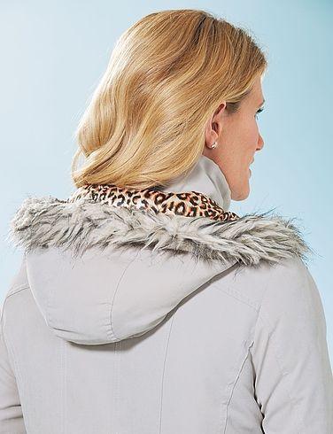 Microfibre Jacket with Fur Trim Hood