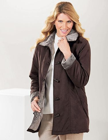 Toggle Fastening FauxFur Trim Lined Jacket