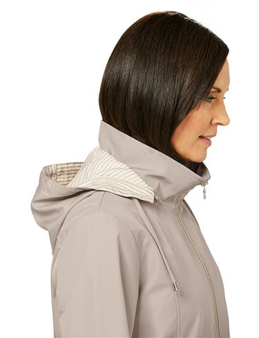 Laminated Zip-Front Jacketwith Hood