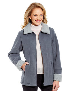 Ladies' Borg Trim Fleece Zip Jacket